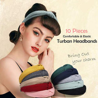 Kisslife 10 Pack Wide Headbands Knot Turban Headband Hair Band Elastic Plain Fashion Hair Accessories for Women and Girls, Children 10 Colors : Beauty