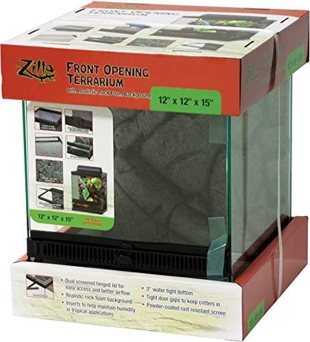 Zilla Front Opening Terrarium Black 12 x 12 x 15in : Pet Supplies