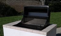 "EasyChef Charcoal & Wood Built-in 30"" Counter Top Grill-Black Hood with Stainless Steel Cooking Grids Included ($120.00 Value) - Island NOT Included : Garden & Outdoor"