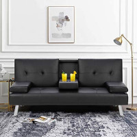 Walsunny Modern Faux Leather Couch, Convertible Futon Sofa Bed for Living Room with Armrest & Fold Up & Down Recliner Couch with Cup Holders - Black: Kitchen & Dining