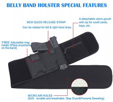 DB Belly Band Holsters for Concealed Carry, Compatible with Firearm Handgun Revolvers for Men & Women, Pistol Holster Tactical Elastic Waist Band : Sports & Outdoors
