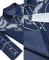 COOFANDY Men's Western Cowboy Embroidered Long Sleeve Button Down Shirt: Clothing