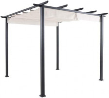 Hanover Reed Aluminum and Steel Pergola with Adjustable Sling Canopy, Gray D x 9.8' W x 7.6' H, REEDPERG-Gry Outdoor Furniture, White: Garden & Outdoor