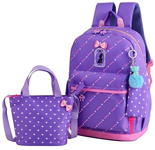 VIDOSCLA 3Pcs Heart Printing Backpack Sets Bowknot Primary Schoolbag Travel Daypack Shoulder Bag Girls Rucksack knapsack with Luch box Pencil case   Kids' Backpacks