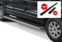 APS Premium 6in Silver iBoard Running Boards Compatible with Ford Transit Full Size Van 15-20: Automotive
