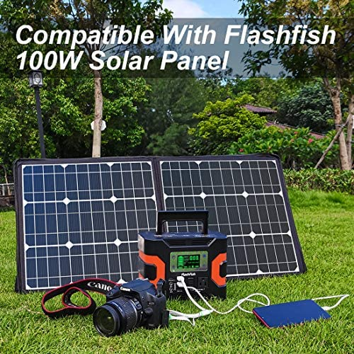 330W Portable Power Station, Flashfish 300Wh 81000mAh Solar Generator CPAP Backup Battery Emergency Power Supply with 110V AC Outlets, 12V/24V DC, QC3.0 USB, LED Flashlight for Camping Trip Home : Garden & Outdoor