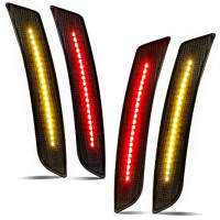 Smoked LED Side Marker Lights Front Rear Bumper Sidemarker Reflectors Compatible with 2016 to 2018 Camaro Red Amber - Pack of 4: Automotive