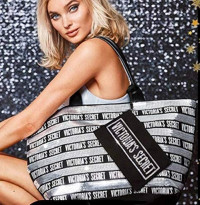 VICTORIA SECRET - - SEQUENCED SPARKLE SILVER BLING LG TOTE WEEKENDER BAG - WITH MATCHING COSMETIC BAG. LIMITED - RARE - SOLD OUT