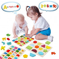 Wooden Alphabet Puzzles for Toddlers, Viniles Wooden Number Puzzles and Shape Puzzle Toddler Learning Toys for Kids 2 3 4 Years Old (Set of 3): Toys & Games