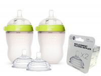 Comotomo Natural Feel Baby Bottle SET, Double Pack Green, 250ml (8 oz) PLUS Extra Nipples Packs - Fast Flow & Variable Flow : Baby
