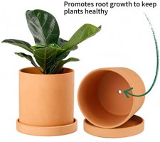 POTEY Terracotta Indoor Planter Pot - 4.5 Inch Pottery Flower Clay Medium Garden Round Bonsai Containers with Watering Drain Holes Saucer-Unglazed 025311: Garden & Outdoor