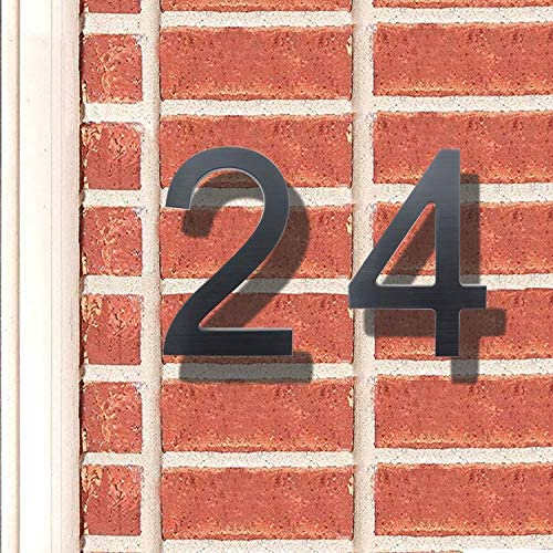 8 Inch Modern House Numbers- Premium Aluminum Floating Home Address Number with Elegant & Sophisticated Brushed Finish, Black, Number 5