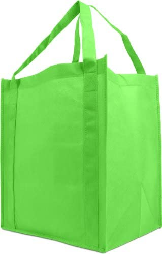Simply Green Solutions Reusable Reinforced Handle Grocery Tote Bag Large 10 Pack - 10 Color Variety - Reusable Shopping Bags