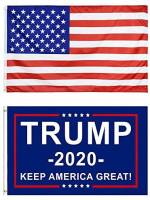 YJT-Smyer USA Flag and Trump for President 2020 Keep America Great Flag,with Brass Grommets Double-Stitched Edges Vivid Color and Fade Resistant Outdoor Yard Flag Kit, 3 X 5 Ft, 2Pack : Garden & Outdoor