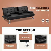 Flamaker Futon Sofa Bed Modern Faux Leather Couch, Convertible Folding Recliner Lounge Futon Couch for Living Room with 2 Cup Holders with Armrest (Black): Kitchen & Dining