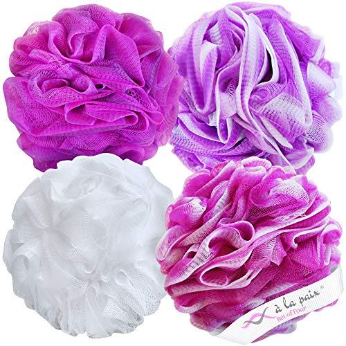 Loofah Bath Sponge XL 75g Set of 4 Bright Colors by À La Paix - Soft Exfoliating Shower Lufa for Silky Skin - Long-Handle Mesh Body Poufs- Women and Men's Luffas -Large Scrunchy- Full Cleanse & Lather: Beauty