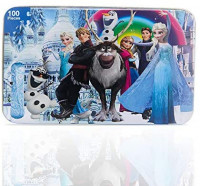100 Piece Frozen Puzzles for Kids Ages 4-8 Jigsaw Puzzle for Children Learning Education Metal Box: Toys & Games