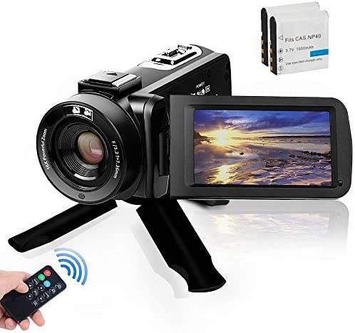 Video Camera Camcorder, Digital YouTube Vlogging Camera FHD 1080P 30FPS 24MP 16X Digital Zoom 3 Inch Touch Screen Video Recorder with Remote Control and Tripod, 2 Batteries : Electronics