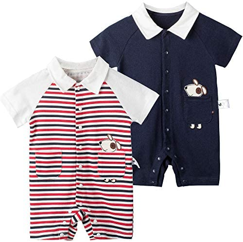 Unisex-Baby Short Sleeve Cotton Onesie Romper, Cute Casual Romper for Newborn Toddlers: Clothing