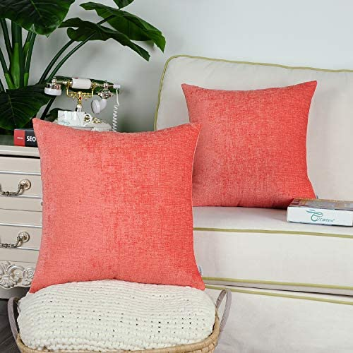 CaliTime Pack of 2 Cozy Throw Pillow Covers Cases for Couch Sofa Home Decoration Solid Dyed Soft Chenille 16 X 16 Inches Living Coral: Home & Kitchen