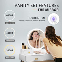 VIVOHOME Vanity Set with 3-Color Touch Screen Dimmable Lighted Metal Mirror, Makeup Table with Drawers, Padded Stool, White: Kitchen & Dining