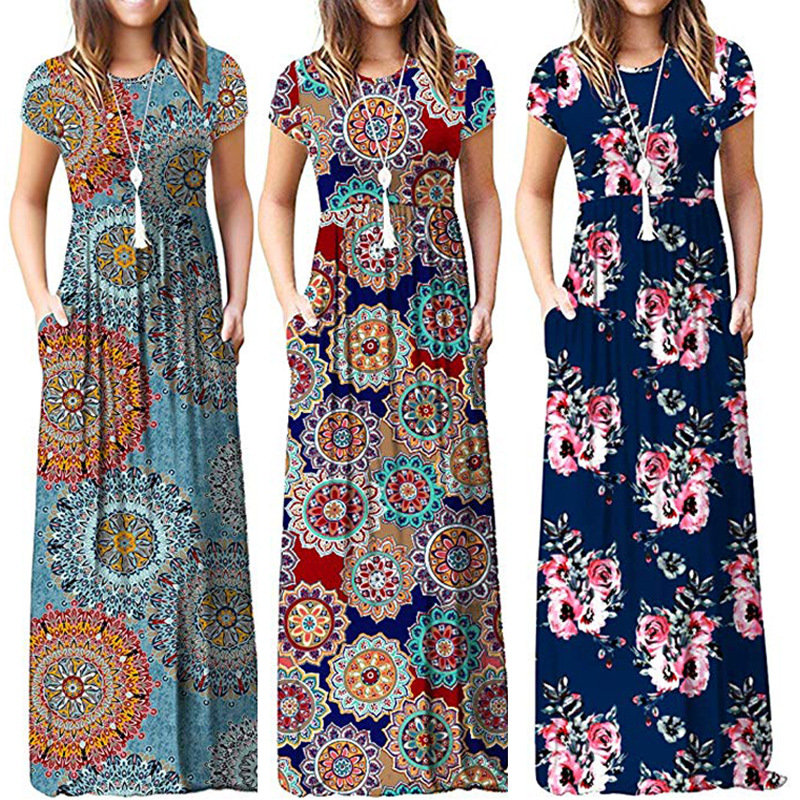 2019 Summer  Print Short-sleeved Pocket Dress Plus Long Skirt  Speed