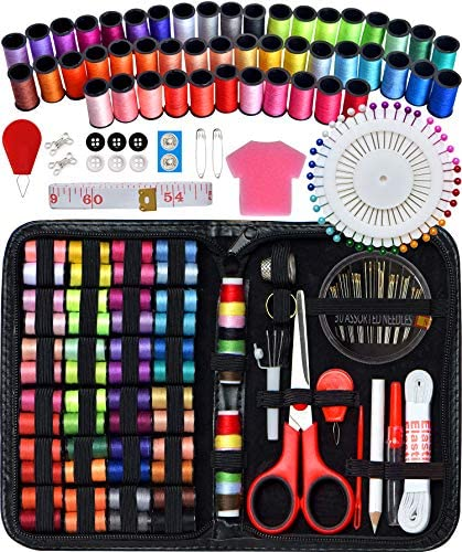 Sewing Kit for Traveler, Adults, Beginner, Emergency, DIY Sewing Supplies Organizer Filled with Scissors, Thimble, Thread, Elastic, Sewing Needles, Storage, Tape Measure etc (Black, X) Great Gift