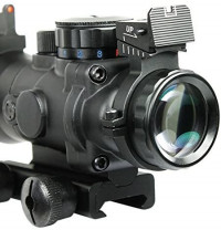 UUQ Prism 4x32 Red/Green/Blue Triple Illuminated Rapid Range Reticle Rifle Scope W/Top Fiber Optic Sight and Weaver Slots : Sports & Outdoors