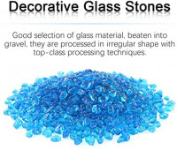 Hilitchi Glass Stones Non-Toxic Beautiful Smooth Vibrant Colors Vase Filler, Table Scatter, Aquarium Fillers, Gems Displaying, Gem Glass Confetti [Light Blue Aprox. 1lb(455g)/Bag]: Home & Kitchen