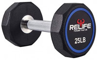 RELIFE REBUILD YOUR LIFE Decagon Dumbbell Heavy Weights Barbell Metal Handles for Strength Training Home Gym Exercise Equipment : Sports & Outdoors