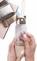 Nureen Glass Water Bottle Wide Mouth Design with Handle Peach Color & Bonus Recipe e-Book : Sports & Outdoors