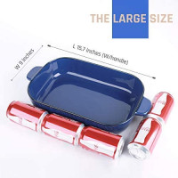 Kvv Ceramic Bakeware Set of 3 Piece Retangular Baking Pan, Baking Dishes, Lasagna Pans for Cooking, Kitchen, Cake Dinner, Banquet and Daily Use, 13 x 9 Inches (Blue): Kitchen & Dining