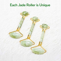 Kimkoo Jade Roller and Gua Sha Set, 100% Real Natural Jade Stone,Face Eyes Neck Massager Tool for Wrinkles, Anti Aging Facial Roller, Durable, Noiseless Design,3-in-1: Beauty
