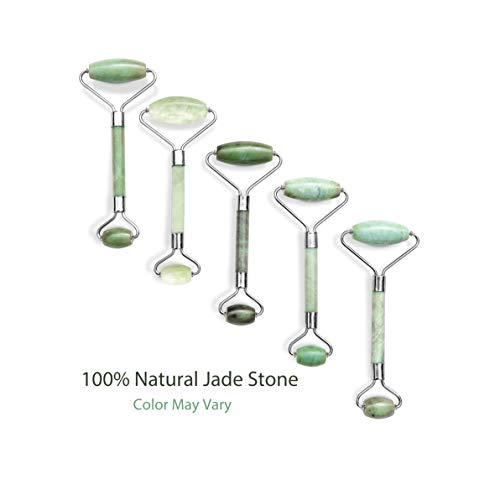 Jade Roller and Gua Sha Set, 100% Natural Jade Stone Face Roller, Dual Sided Massage Roller Stimulates Blood Flow, Relieves Stress, Reduces Signs of Aging, Travel Pouch Included, Gift Box: Beauty