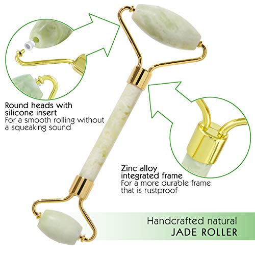 100% Real Natural Xiuyan Jade Roller for Face - Anti-Aging Face Roller - Jade Facial Roller for Wrinkles & Fine Lines - Jade Face Roller & Facial Massager for Skin Detox - Jade Roller and Gua Sha Set: Beauty