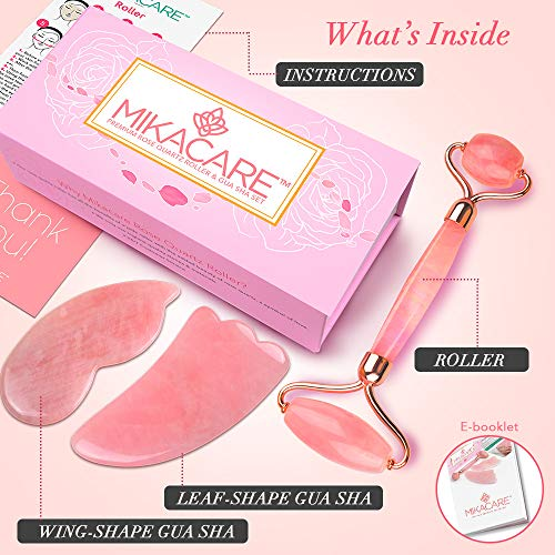 Jade Roller - Rose Quartz Roller and Gua Sha set - Anti Aging Facial Roller - Face Massager - Real Rose Quartz Scraping Tool for Slimming, Firming, Removes Wrinkles : Beauty