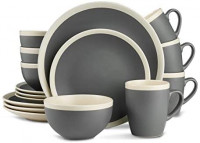 Stone Lain Dinnerware Set, 32 Piece, Dark Gray and Cream: Dinnerware Sets