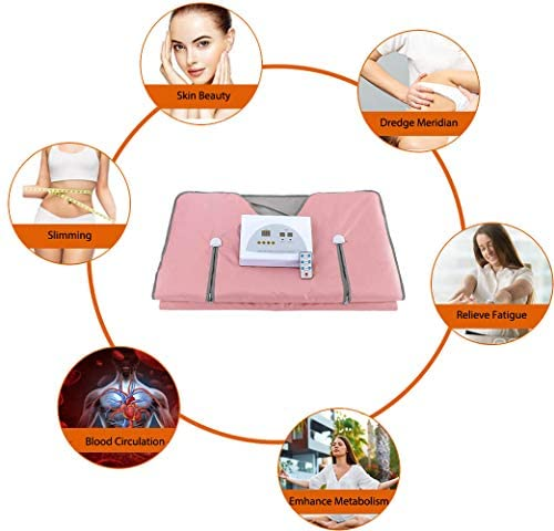 Sauna Blanket Far-Infrared(FIR) for Weight Loss with Remote Control Body Steamer Blanket Waterproof Heat Sauna Blanket Professional Detox Therapy Beauty Machine Slimming Fitness Anti Ageing. (Pink) : Garden & Outdoor