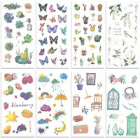 48 Sheets Washi Paper Stickers Decorative Sticker Adhesive Planner Sticker Set Suitable for Diary Notebooks Arts Kids DIY Crafts Bullet Journal Scrapbook Sticker