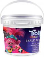 Trolls World Tour Outdoor Sidewalk Chalk Set for Kids w/Stencils, Bucket, Decals: Office Products