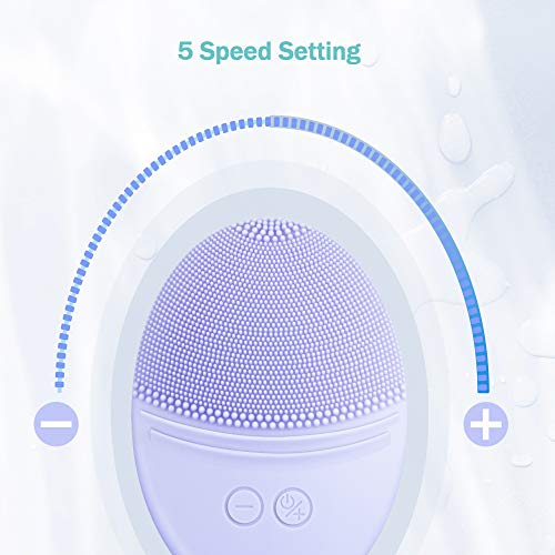 EZBASICS Facial Cleansing Brush made with Ultra Hygienic Soft Silicone, Deep Clean Exfoliation for Dirt and Oily, Inductive charging (Violet): Beauty