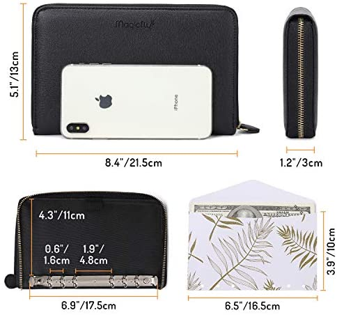 Magicfly Cash Envelope Wallet, All-in-One Budget System Wallet with 12 Budget Envelopes& Budget Sheets & Labels, Waterproof & Lightweight, Budget Envelope for Tracking of All Your Spending, Black : Office Products