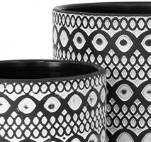 Set of 2 Plant Pots, 4 Inch & 6 Inch, Terracotta Planter Pot with Drainage Hole, Design Flower Pot, Black/White: Home & Kitchen