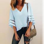 V-neck Flare Sleeve Loose Large Size Female Casual Shirt
