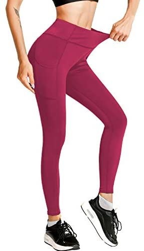 Meetjoy High Waisted Yoga Pants with Pockets for Women - Tummy Control Workout Leggings: Clothing
