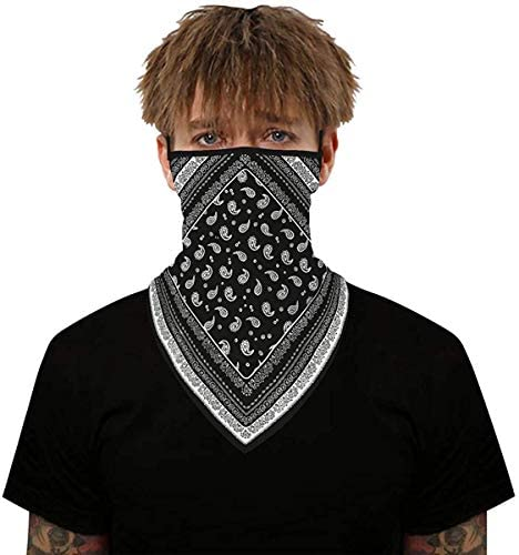 2pcs Face Scarf Bandana Mask Earloop Balaclava Neck Gaiters for Men Women Motorcycle Cycling at Men's Clothing store