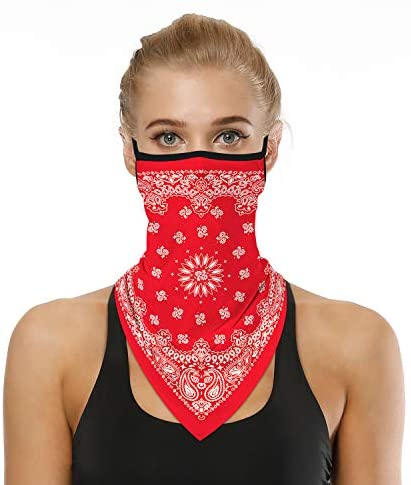 5 Pack Triangle Bandana Face Mask Earloops Balaclava Scarf Men Women Neck Gaiters for Dust Wind Motorcycle Mask Outdoors Sports at Men's Clothing store