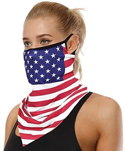 Three street Bandana Face Mask Face Shield Scarf UV Neck Gaiters Summer Headwear Bandana Scarf Necks with Earloops at Men's Clothing store
