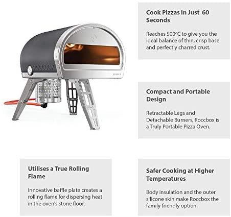 ROCCBOX by Gozney Portable Outdoor Pizza Oven - Gas Fired, Fire & Stone Outdoor Pizza Oven, Includes Professional Grade Pizza Peel: Garden & Outdoor