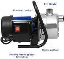 1.6HP Shallow Well Sump Pump Stainless Booster Pump Lawn Water Pump Electric Water Transfer Home Garden Irrigation(1.6 HP_Blue)